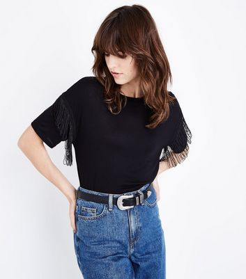 Black Fringe Sleeve T-Shirt New Look