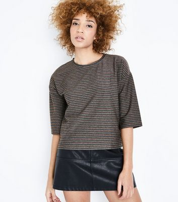 Multi Coloured Metallic Stripe T-Shirt New Look