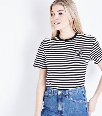 Black Stripe Bee Embroidered T-Shirt New Look