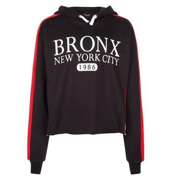 Teens Black Bronx New York City Slogan Stripe Sleeve Hoodie New Look