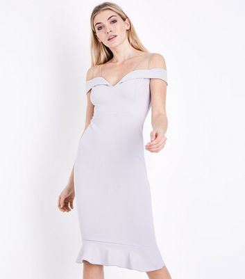 AX Paris Silver Off the Shoulder Fishtail Dress