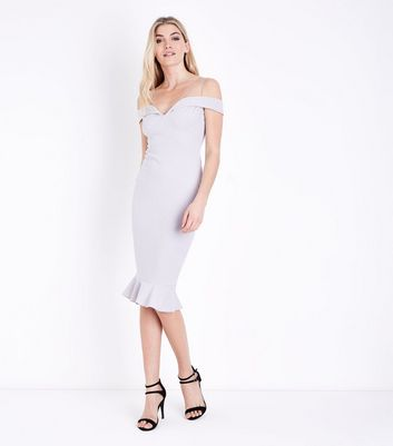 AX Paris Silver Off the Shoulder Fishtail Dress New Look