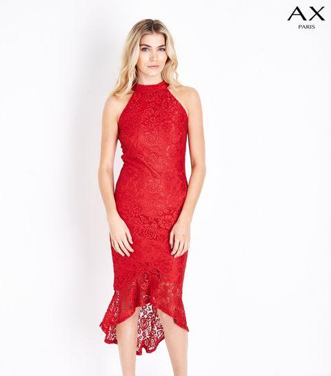9f2e93300f2 ... AX Paris Red Fishtail Lace Dress ...