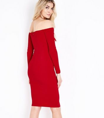 AX Paris Red Tie Front Bardot Neck Dress New Look