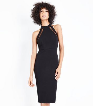 AX Paris Black Mesh Trim Strappy Midi Dress New Look