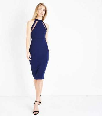 AX Paris Navy Mesh Panel Strappy Midi Dress