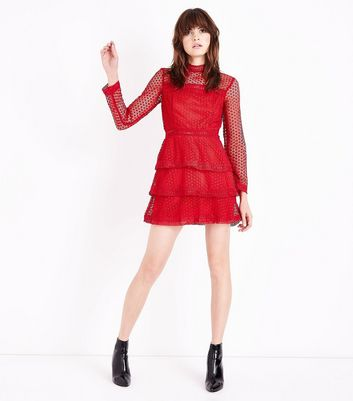 AX Red Black Tiered Crochet Dress New Look