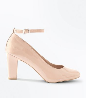 Nude Patent Ankle Strap Court Shoes