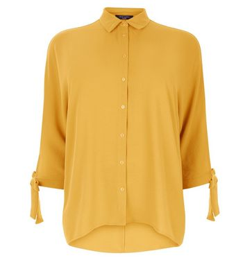 Curves Mustard Yellow Batwing Tie Sleeve Shirt New Look