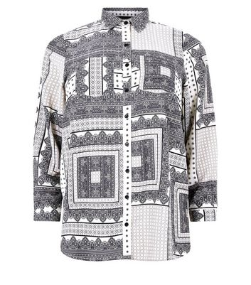 Curves White Monochrome Patchwork Pattern Shirt New Look