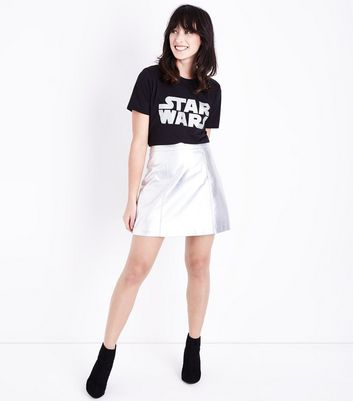 Black Star Wars Glitter Print T-Shirt New Look