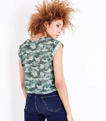 Green Mon Cheri Slogan Camo T-Shirt New Look