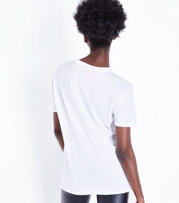 White Metallic Bowie Logo T-Shirt New Look
