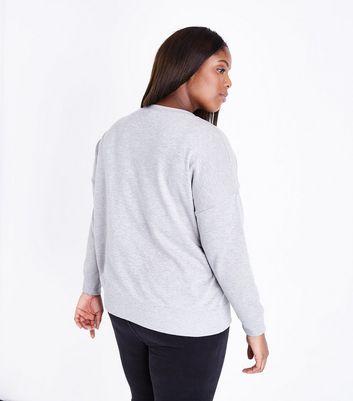 Curves Grey Round Neck Sweatshirt New Look