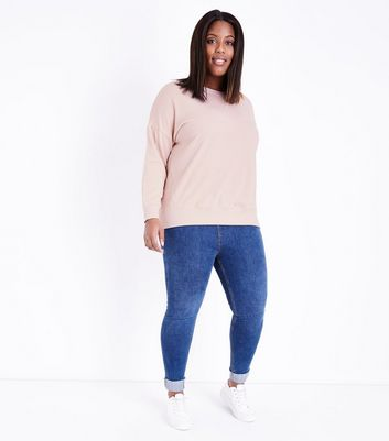 Curves Pale Pink Round Neck Sweatshirt New Look