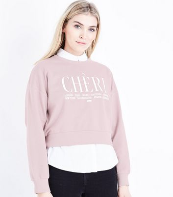 Mink Cheri Slogan Front Sweatshirt New Look