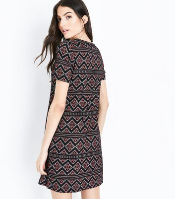Red Aztec Jacquard Tunic Dress New Look