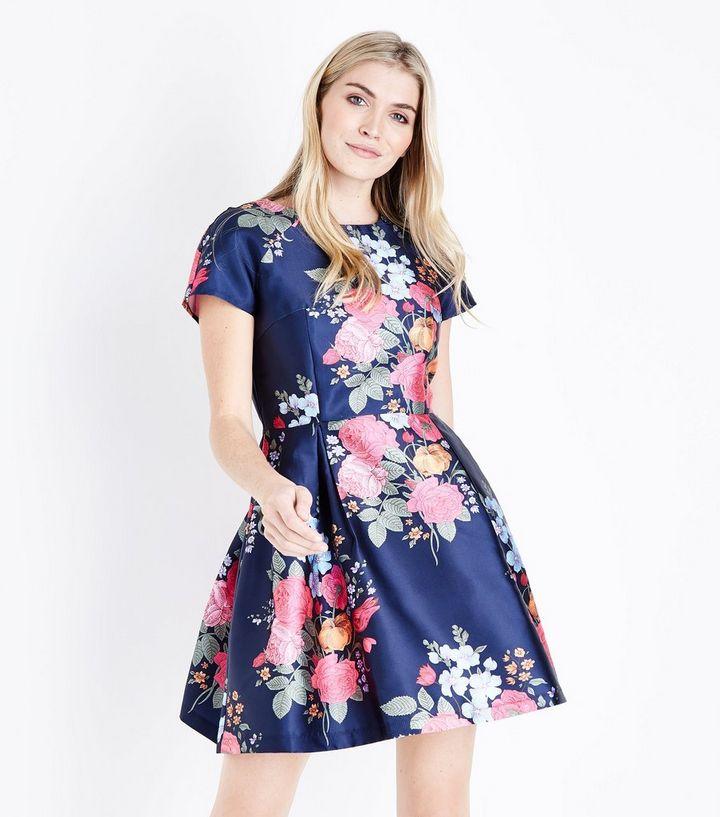 8702b226f0c Blue Vanilla - Robe bleu marine à imprimé floral