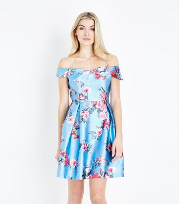 Blue Vanilla Blue Floral Print Bardot Neck Dress