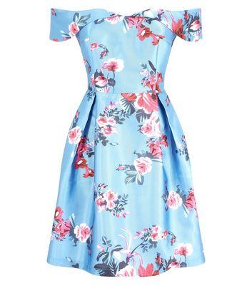 Blue Vanilla Blue Floral Print Bardot Neck Dress New Look
