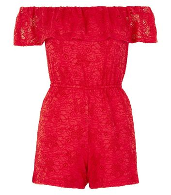 Teens Red Lace Bardot Playsuit New Look