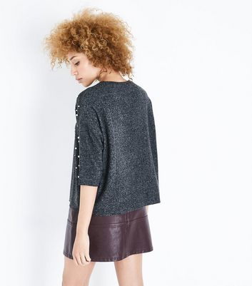 Dark Grey Pearl Embellished Brushed Fine Knit Top New Look