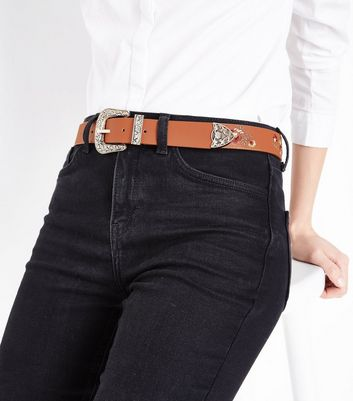Tan Floral Embroidered Jean Belt New Look