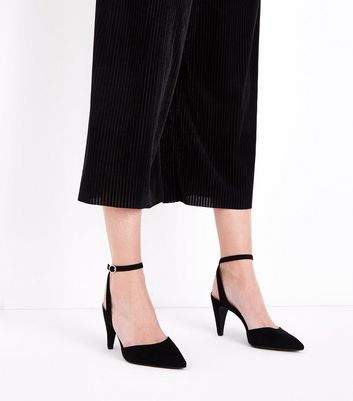 Black Suedette Ankle Strap Pointed Cone Heels New Look