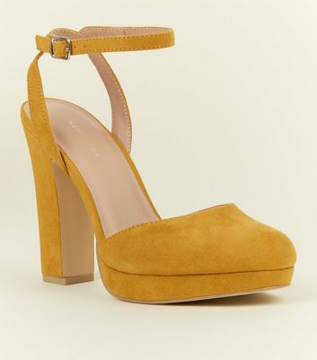 Mustard Suedette Two Part Platform Courts