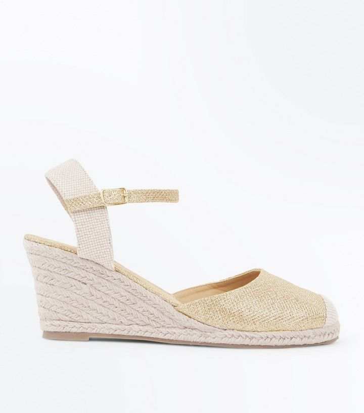 d7f42b7648c Gold Glitter Ankle Strap Espadrille Wedges Add to Saved Items Remove from  Saved Items