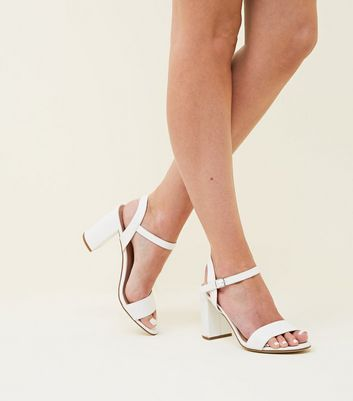 5bd2f8d7a4f5 White Ankle Strap Block Heel Sandals