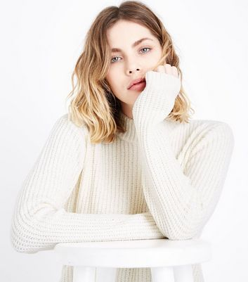 QED Cream Ribbed Chenille Jumper New Look