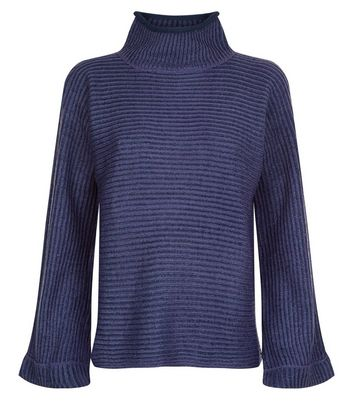 QED Navy Flared Sleeve Ribbed Jumper New Look
