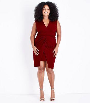 Mela Curves Burgundy Wrap Hem Mini Dress New Look