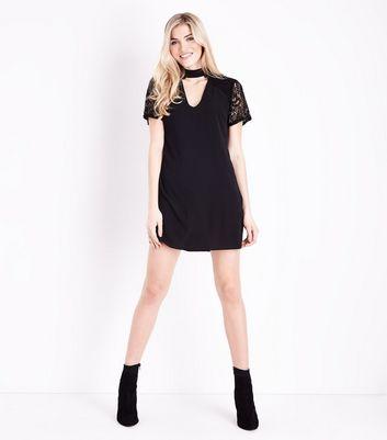 Black Lace Sleeve Choker Neck Tunic Dress New Look