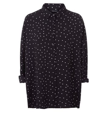 Black Spot Print Dip Hem Shirt New Look