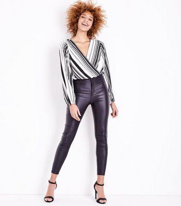 Black Stripe Wrap Front Bodysuit New Look