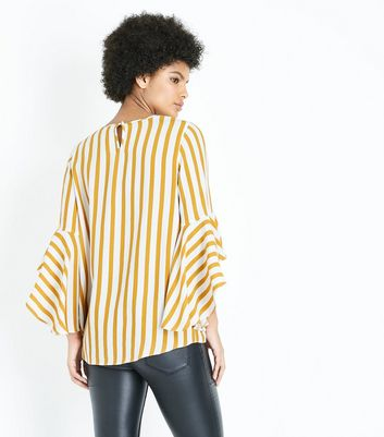 Mustard Yellow Stripe Bell Sleeve Top New Look