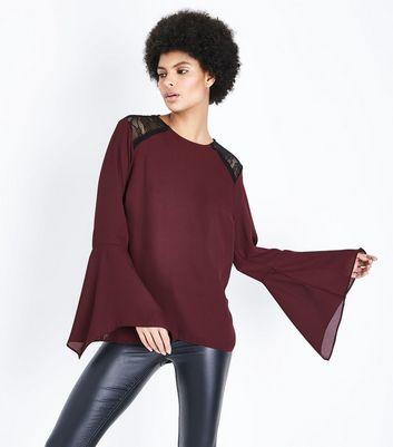 Burgundy Lace Shoulder Hanky Sleeve Top New Look