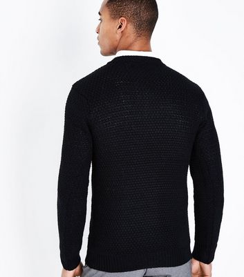 Black Honeycomb Knit Crew Neck Jumper New Look