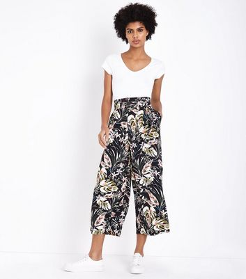 Blue Vanilla Black Floral Paperbag Waist Trousers New Look