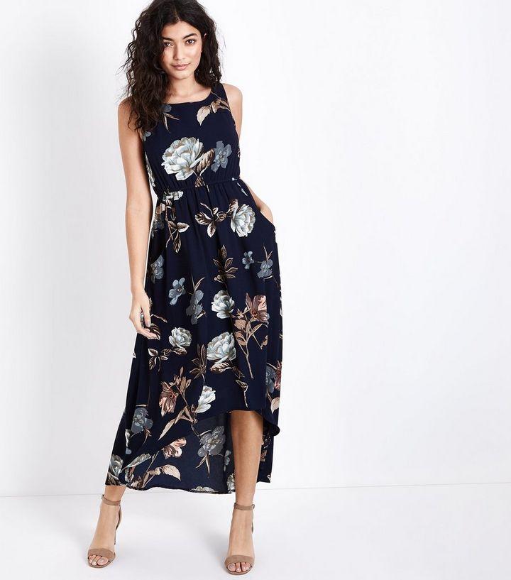 bfa3a827fe0 Blue Vanilla Navy Floral Print Maxi Dress | New Look