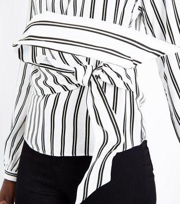 White Stripe Tie Waist Panelled Top New Look