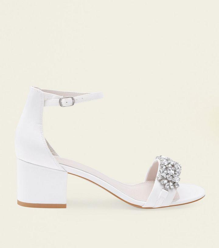 5eeaba6dc988 Off White Satin Embellished Wedding Sandals