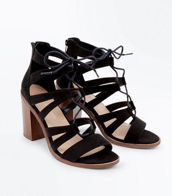 Wide Fit Black Suedette Wood Heel Ghillie Sandals New Look