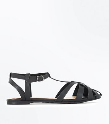 Black Caged Flat Sandals | New Look