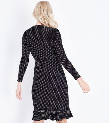 Maternity Black Polka Dot Frill Trim Wrap Dress New Look