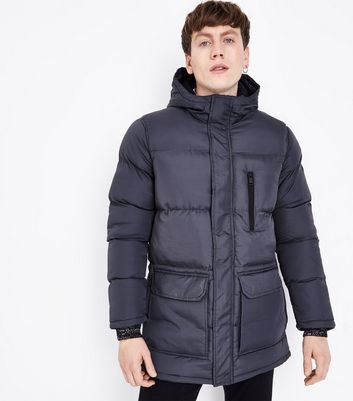 Grey Puffer Jacket New Look