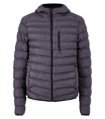 Dark Textured Puffer Jacket New Look