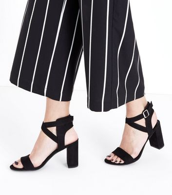 Black Suedette Ankle Cross Strap Block Heels New Look